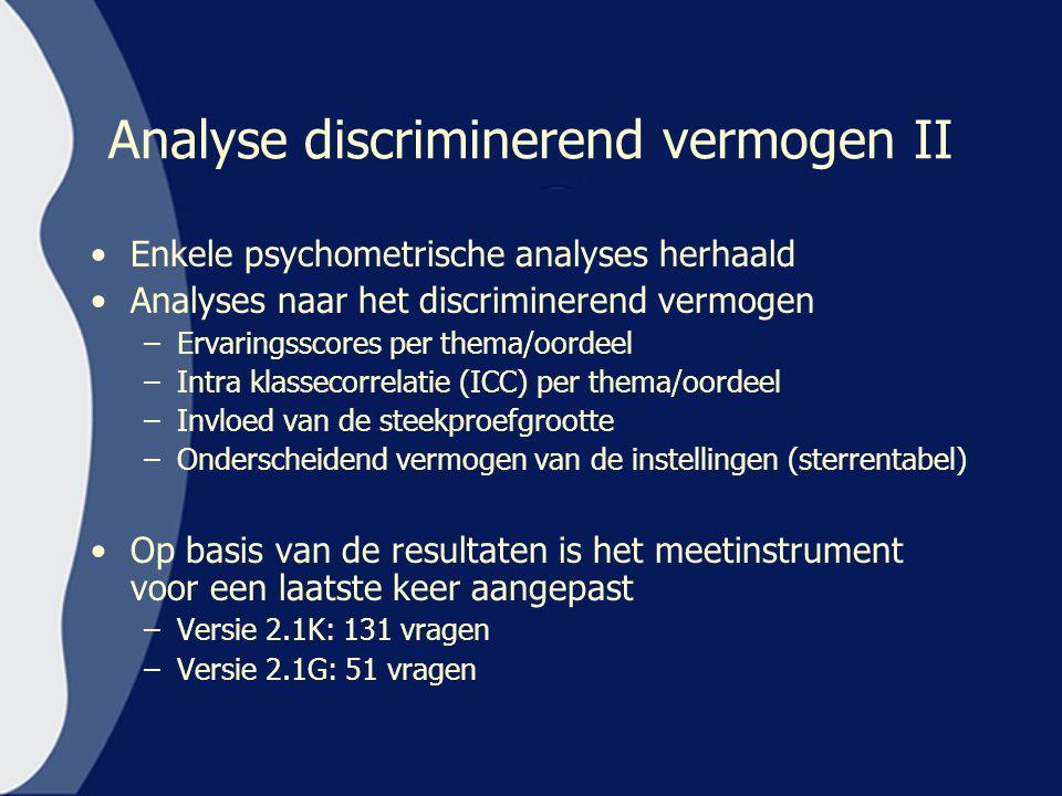 Analyse discriminerend vermogen II Enkele psychometrische analyses herhaald Analyses naar het discriminerend vermogen –Ervaringsscores per thema/oorde