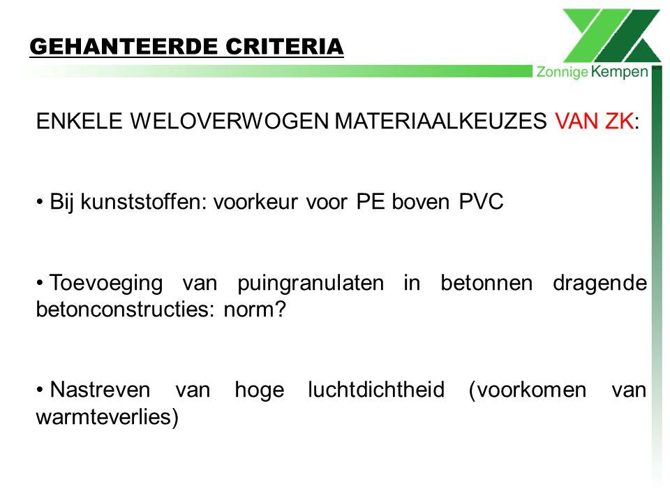 ENKELE WELOVERWOGEN MATERIAALKEUZES VAN ZK: Bij kunststoffen: voorkeur voor PE boven PVC Toevoeging van puingranulaten in betonnen dragende betonconst