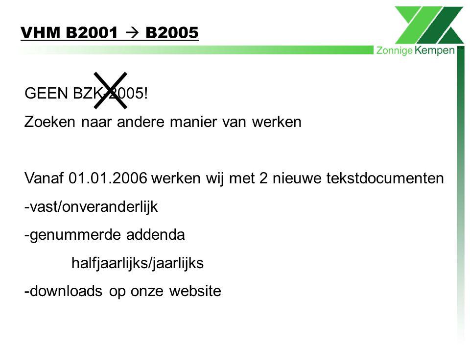 VHM B2001  B2005 GEEN BZK-2005! Zoeken naar andere manier van werken Vanaf 01.01.2006 werken wij met 2 nieuwe tekstdocumenten -vast/onveranderlijk -g