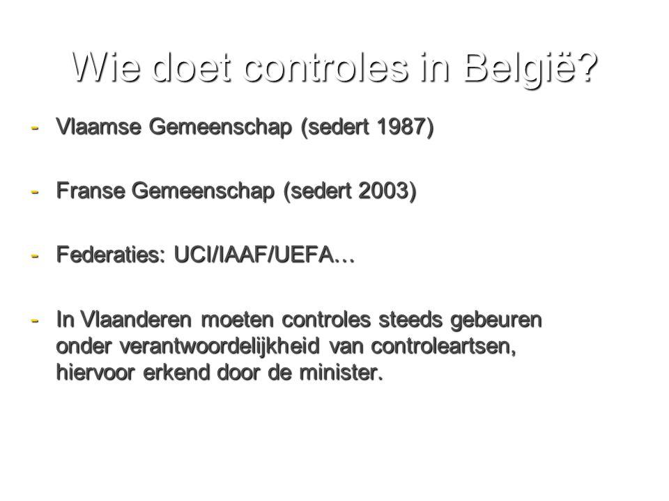 Wie doet controles in België.