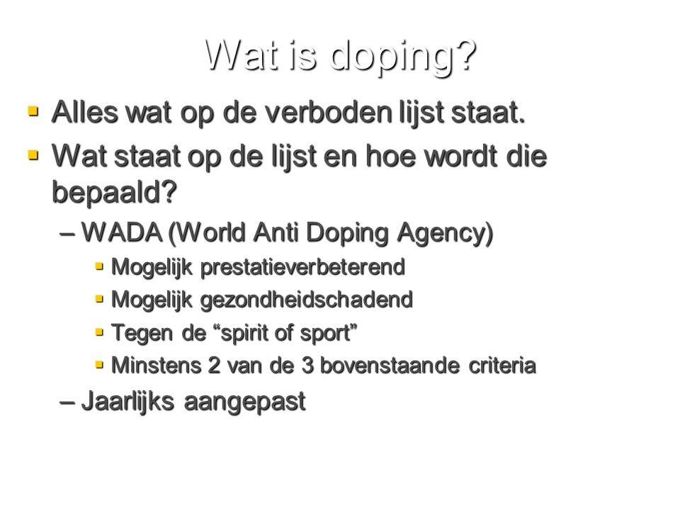 Wat is doping. Alles wat op de verboden lijst staat.