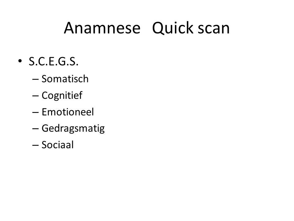 AnamneseQuick scan S.C.E.G.S. – Somatisch – Cognitief – Emotioneel – Gedragsmatig – Sociaal