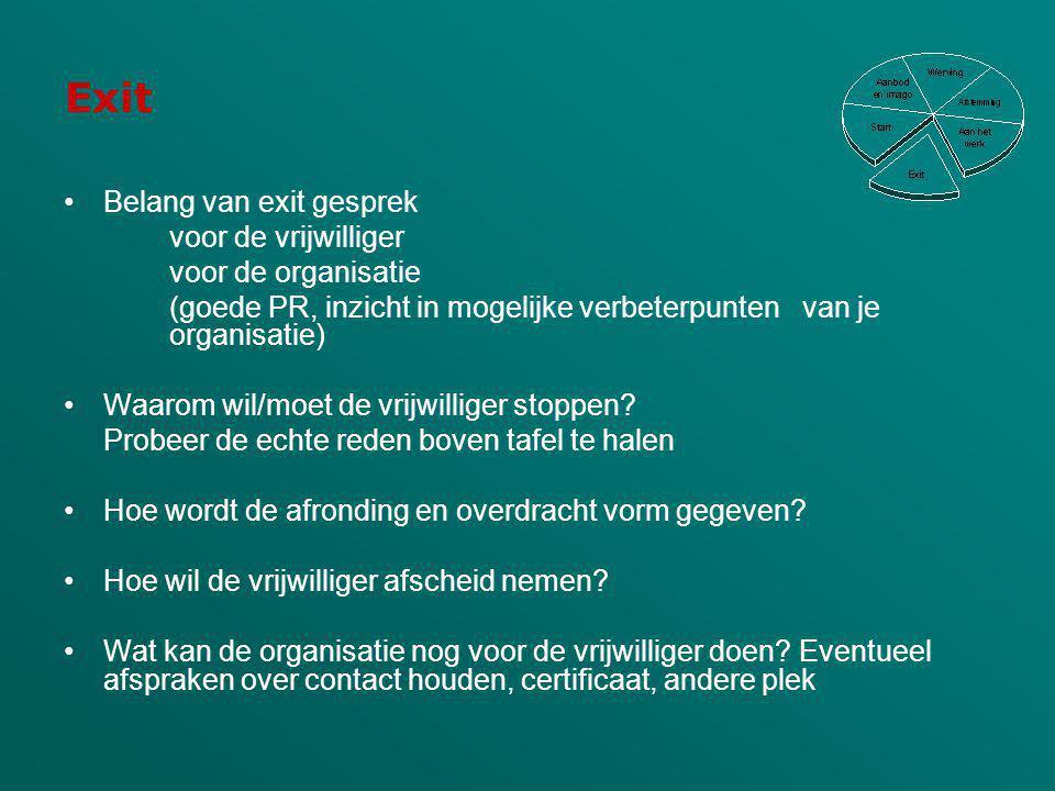 Exit Belang van exit gesprek voor de vrijwilliger voor de organisatie (goede PR, inzicht in mogelijke verbeterpunten van je organisatie) Waarom wil/mo