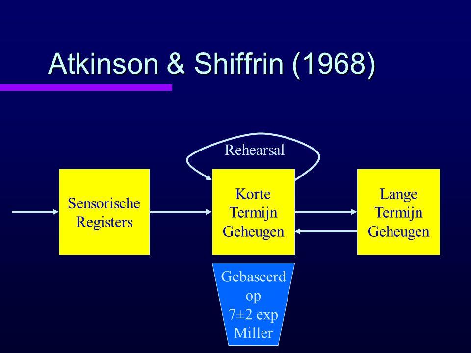 Atkinson & Shiffrin (1968) Sensorische Registers Korte Termijn Geheugen Rehearsal Lange Termijn Geheugen Gebaseerd op 7±2 exp Miller