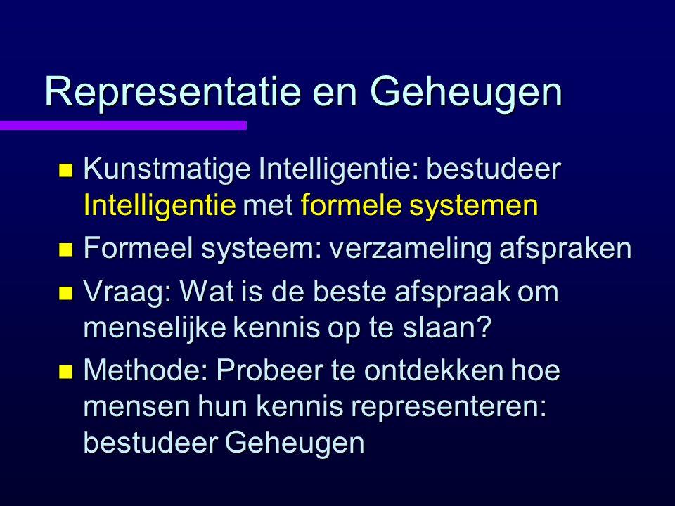 Representatie en Geheugen n Kunstmatige Intelligentie: bestudeer Intelligentie met formele systemen n Formeel systeem: verzameling afspraken n Vraag: