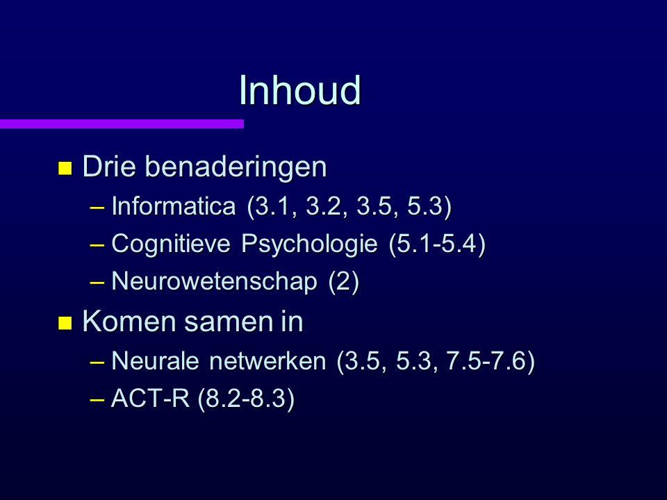 Inhoud n Drie benaderingen –Informatica (3.1, 3.2, 3.5, 5.3) –Cognitieve Psychologie (5.1-5.4) –Neurowetenschap (2) n Komen samen in –Neurale netwerke