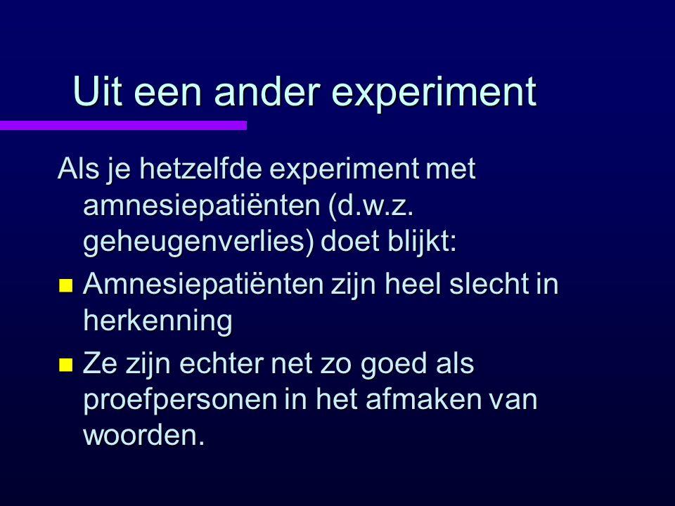 Uit een ander experiment Als je hetzelfde experiment met amnesiepatiënten (d.w.z. geheugenverlies) doet blijkt: n Amnesiepatiënten zijn heel slecht in