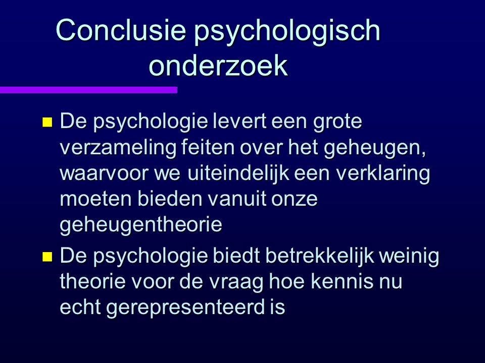 Conclusie psychologisch onderzoek n De psychologie levert een grote verzameling feiten over het geheugen, waarvoor we uiteindelijk een verklaring moet