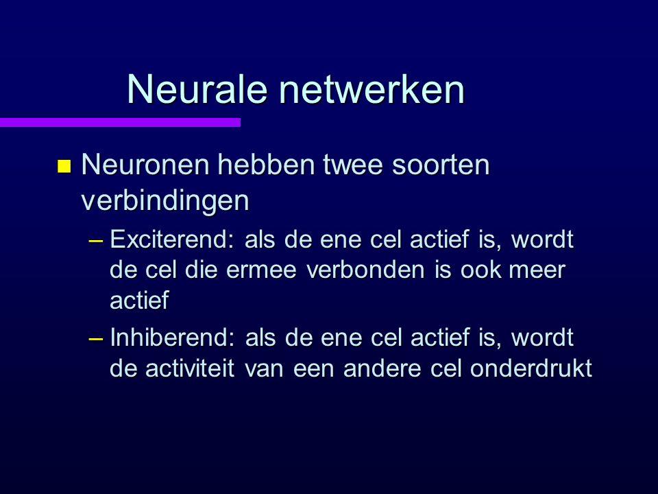 Neurale netwerken n Neuronen hebben twee soorten verbindingen –Exciterend: als de ene cel actief is, wordt de cel die ermee verbonden is ook meer acti