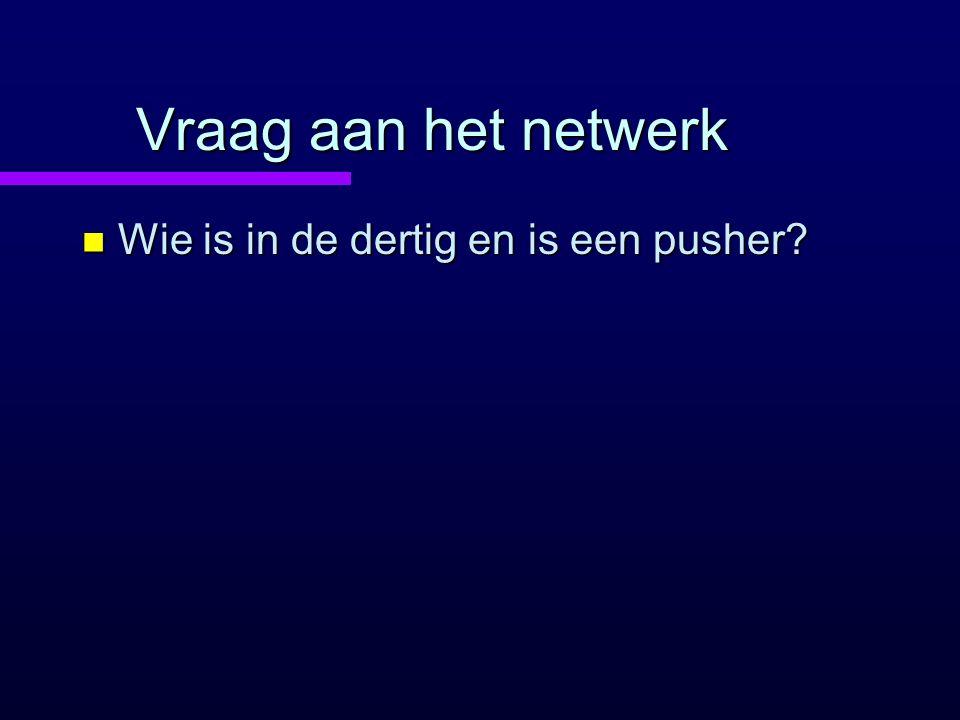 Vraag aan het netwerk n Wie is in de dertig en is een pusher?