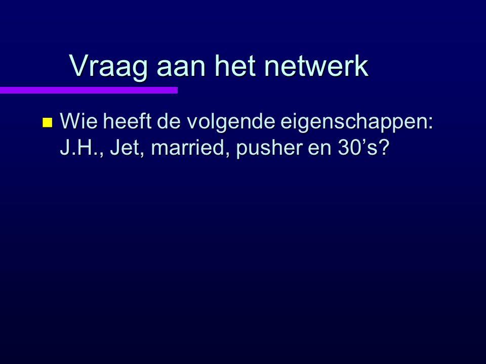 Vraag aan het netwerk n Wie heeft de volgende eigenschappen: J.H., Jet, married, pusher en 30's?