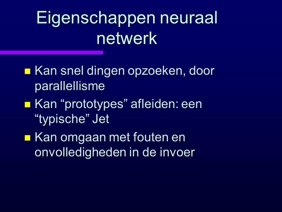 """Eigenschappen neuraal netwerk n Kan snel dingen opzoeken, door parallellisme n Kan """"prototypes"""" afleiden: een """"typische"""" Jet n Kan omgaan met fouten e"""