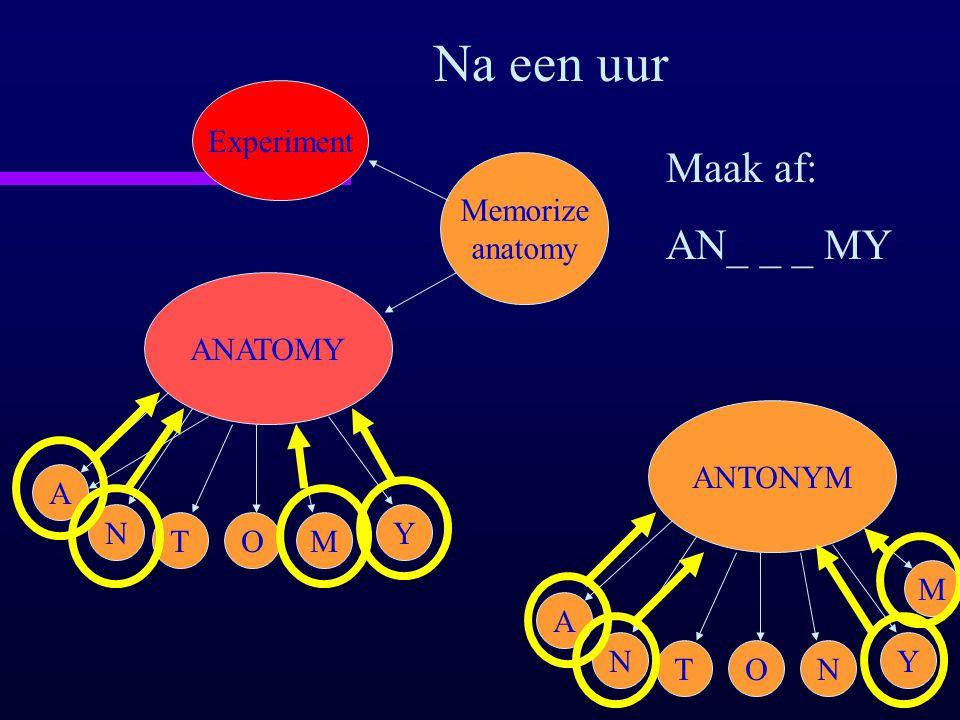 ANATOMY A N TOM Y Memorize anatomy Experiment Na een uur Maak af: AN_ _ _ MY ANTONYM A N TON Y M