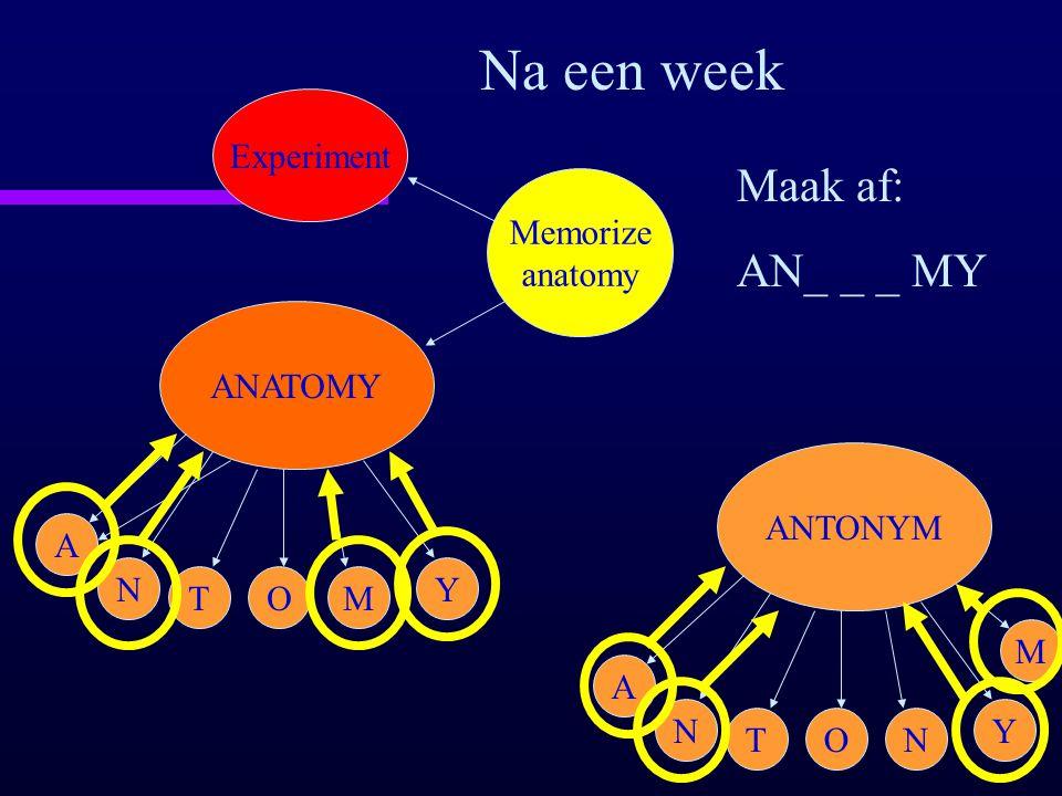 ANATOMY A N TOM Y Memorize anatomy Experiment Na een week Maak af: AN_ _ _ MY ANTONYM A N TON Y M