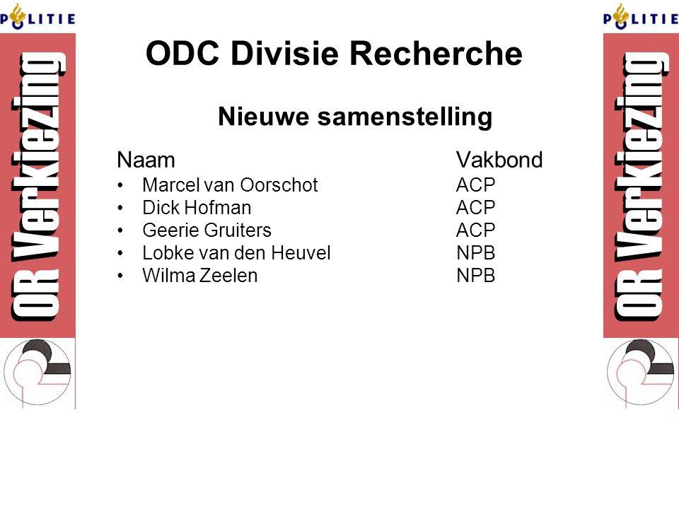 ODC Divisie Recherche NaamVakbond Marcel van OorschotACP Dick HofmanACP Geerie GruitersACP Lobke van den HeuvelNPB Wilma ZeelenNPB Nieuwe samenstelling