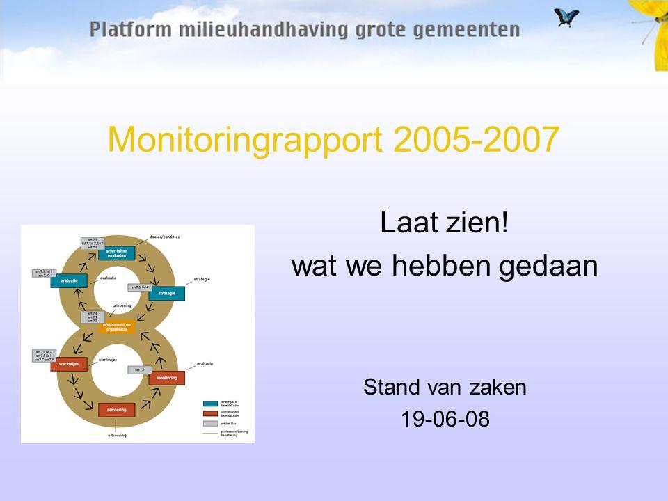 Monitoringrapport 2005-2007 Laat zien! wat we hebben gedaan Stand van zaken 19-06-08