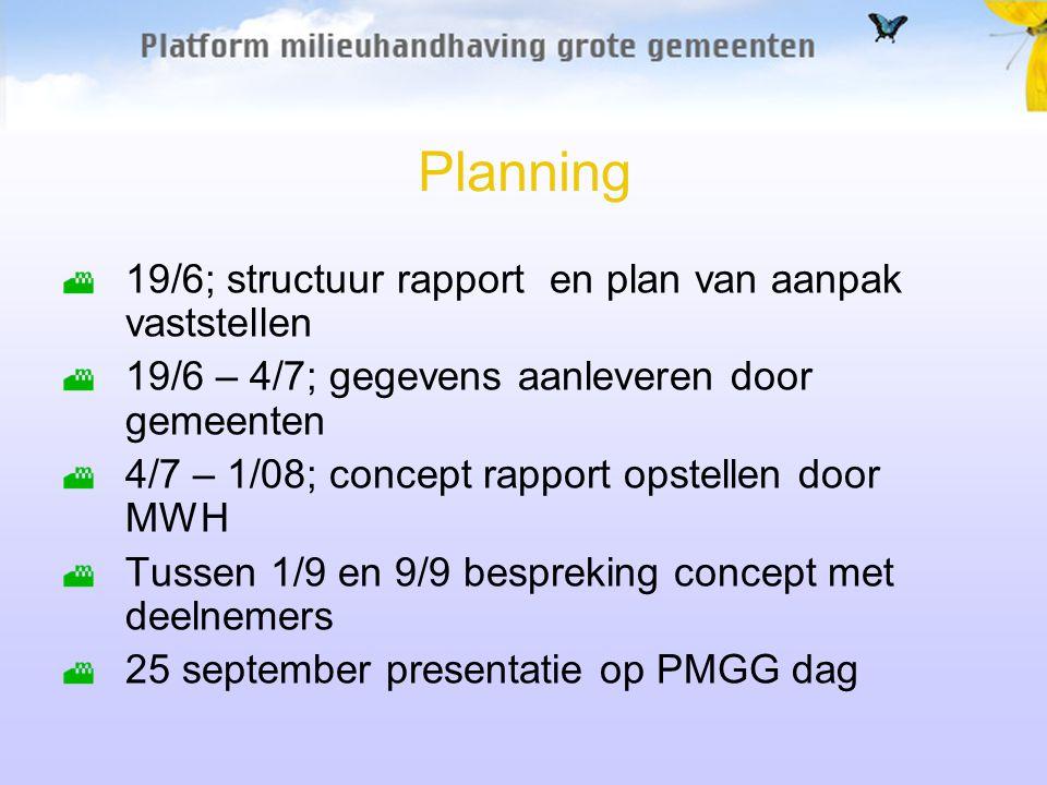 Planning 19/6; structuur rapport en plan van aanpak vaststellen 19/6 – 4/7; gegevens aanleveren door gemeenten 4/7 – 1/08; concept rapport opstellen d