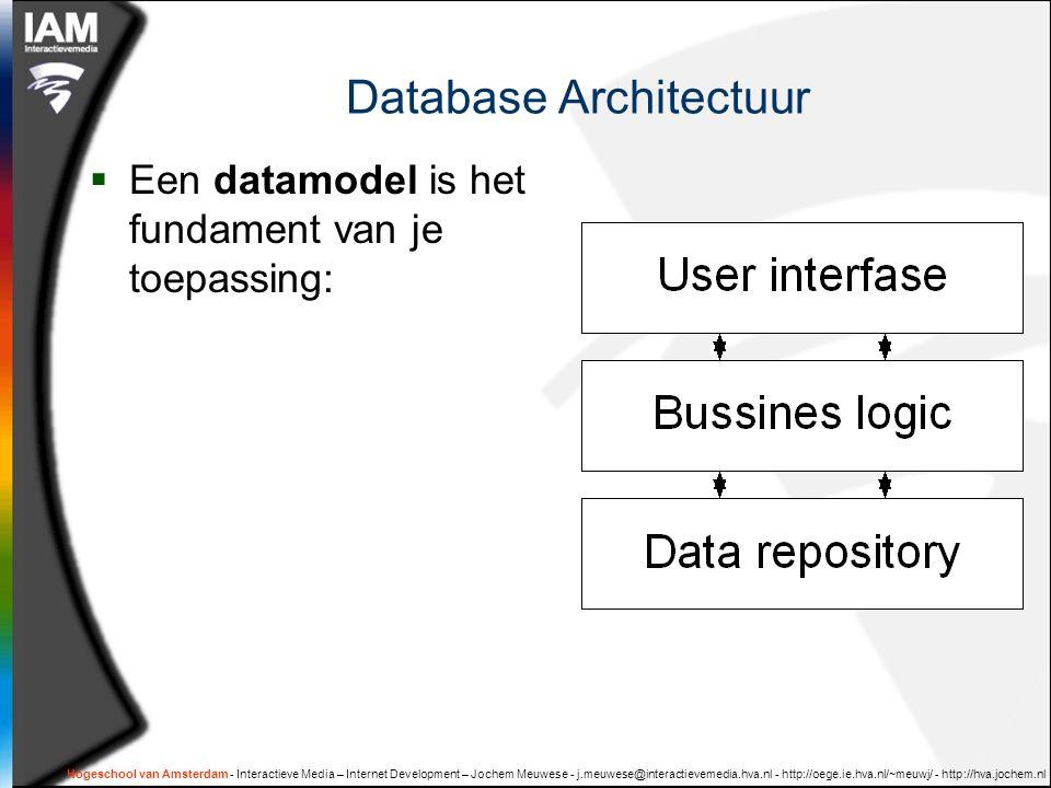 Hogeschool van Amsterdam - Interactieve Media – Internet Development – Jochem Meuwese - j.meuwese@interactievemedia.hva.nl - http://oege.ie.hva.nl/~meuwj/ - http://hva.jochem.nl Statistieken per groep  SELECT categorie, COUNT(*) AS aantal, AVG(prijs) AS midPrijs, MAX(prijs) AS maxPrijs, MIN(prijs) AS minPrijs FROM product GROUP BY categorie  CategorieaantalgemPrijsmaxPrijsminPrijs boek530,385020 voedsel329968000300 vervoer32,753,152.05