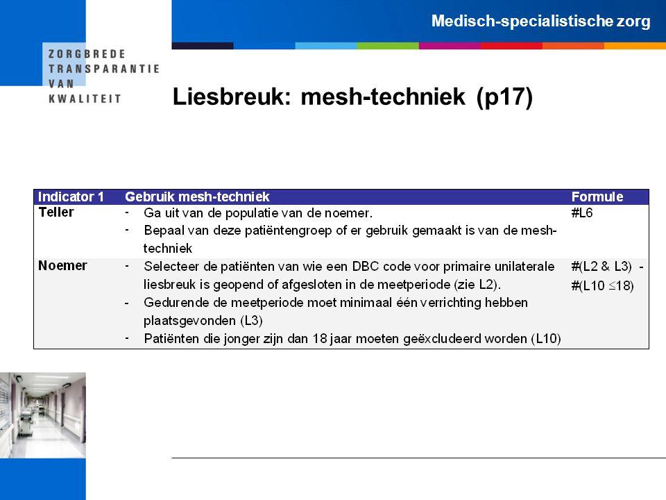 Medisch-specialistische zorg Liesbreuk: mesh-techniek (p17)