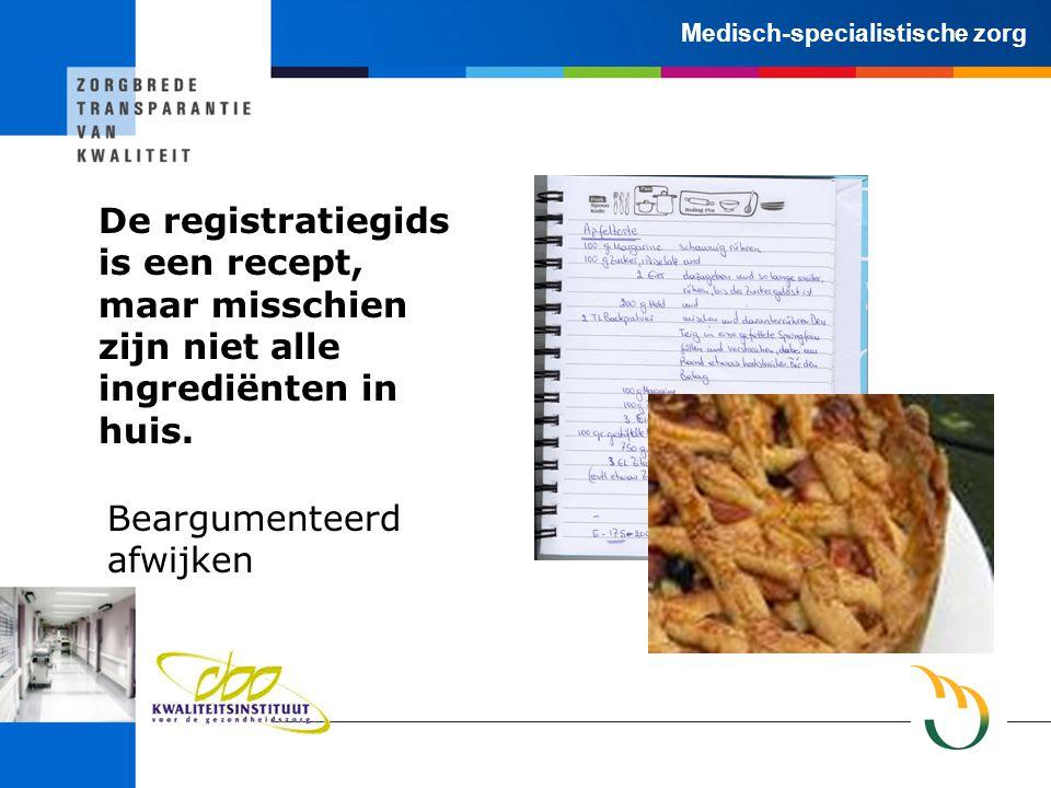 Medisch-specialistische zorg De registratiegids is een recept, maar misschien zijn niet alle ingrediënten in huis.