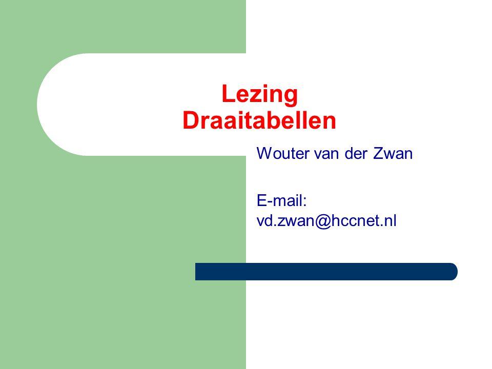 Lezing Draaitabellen Wouter van der Zwan E-mail: vd.zwan@hccnet.nl