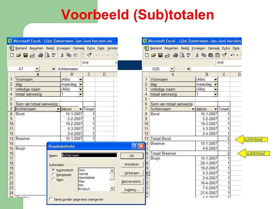 Voorbeeld (Sub)totalen subtotaal