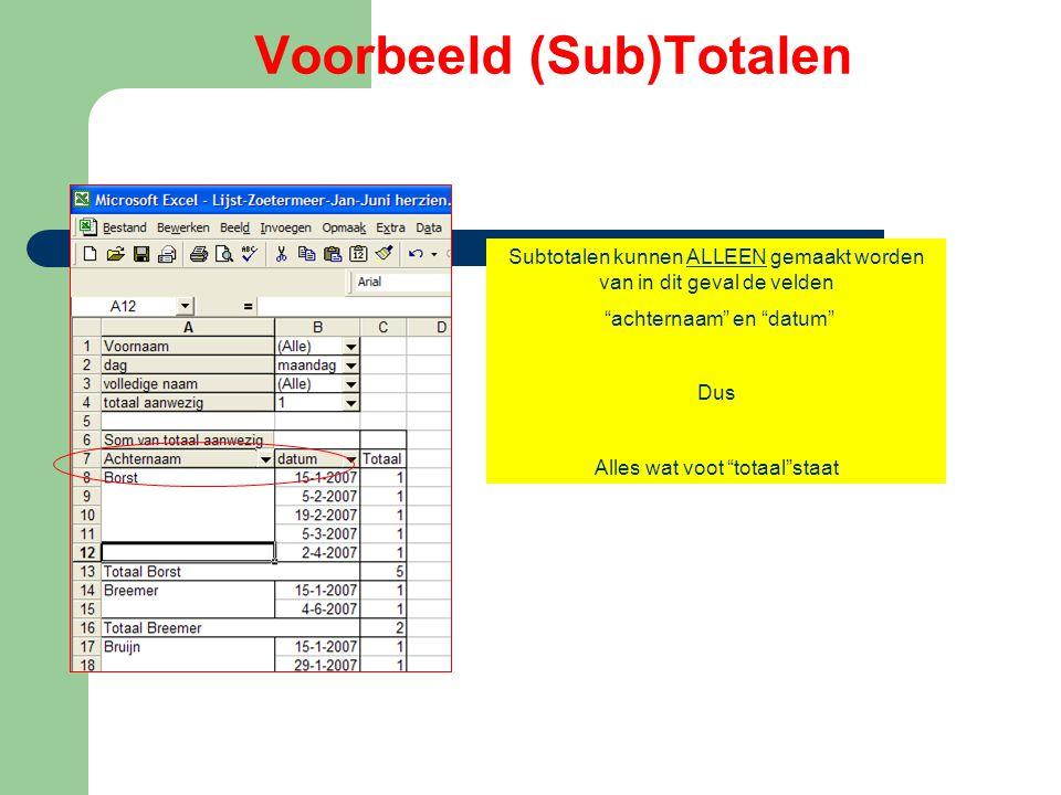 """Voorbeeld (Sub)Totalen Subtotalen kunnen ALLEEN gemaakt worden van in dit geval de velden """"achternaam"""" en """"datum"""" Dus Alles wat voot """"totaal""""staat"""