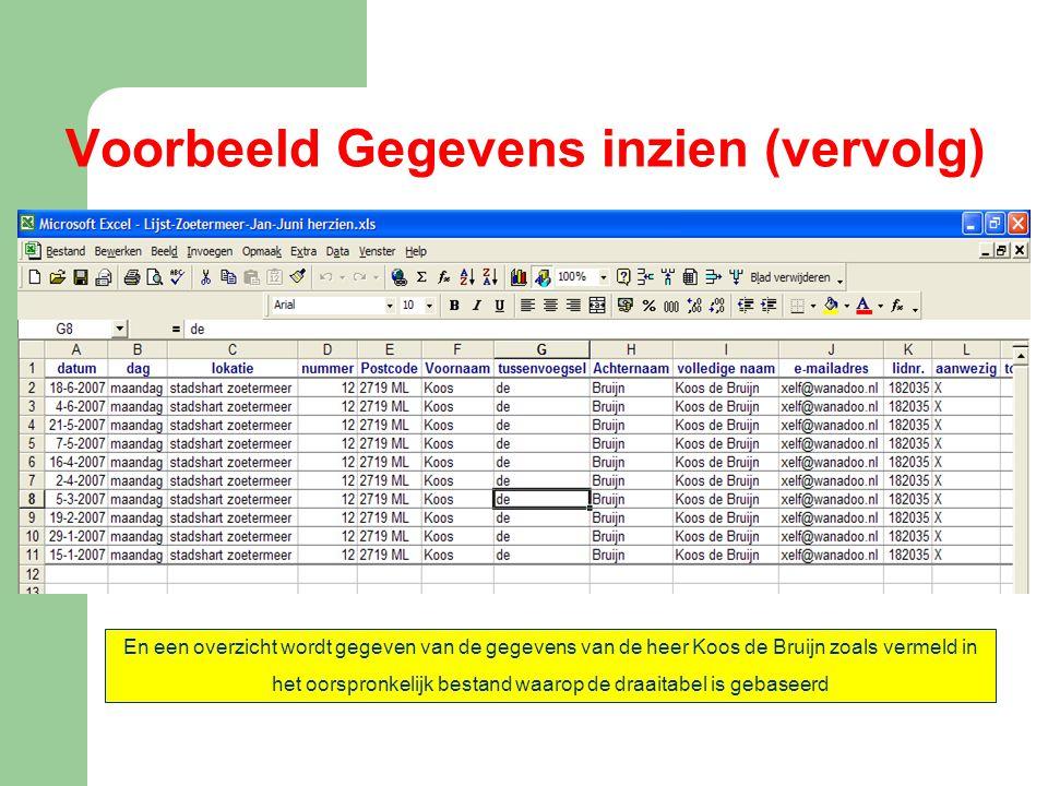 Voorbeeld Gegevens inzien (vervolg) En een overzicht wordt gegeven van de gegevens van de heer Koos de Bruijn zoals vermeld in het oorspronkelijk best