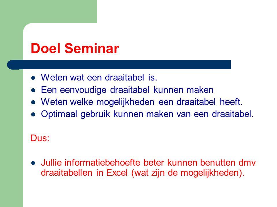 Doel Seminar Weten wat een draaitabel is. Een eenvoudige draaitabel kunnen maken Weten welke mogelijkheden een draaitabel heeft. Optimaal gebruik kunn