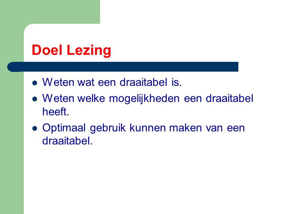 Hoe maken we een draaitabel Uitgangspunt is het bestand waarin bijgehouden wordt wie aanwezig zijn op de bijeenkomsten van de maandagavonden en de dinsdagmiddagen in Zoetermeer.