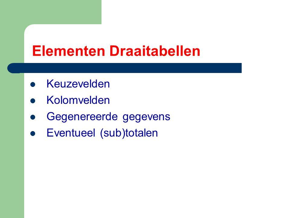 Elementen Draaitabellen Keuzevelden Kolomvelden Gegenereerde gegevens Eventueel (sub)totalen
