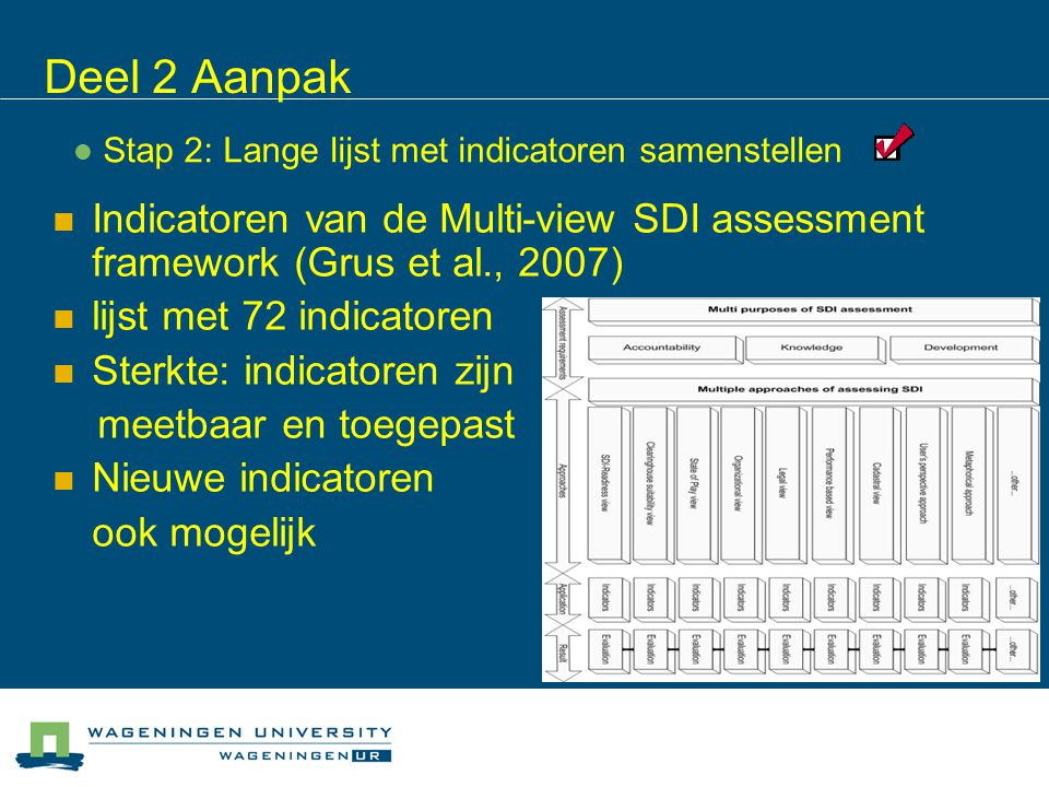 Deel 2 Aanpak Indicatoren van de Multi-view SDI assessment framework (Grus et al., 2007) lijst met 72 indicatoren Sterkte: indicatoren zijn meetbaar en toegepast Nieuwe indicatoren ook mogelijk Stap 2: Lange lijst met indicatoren samenstellen