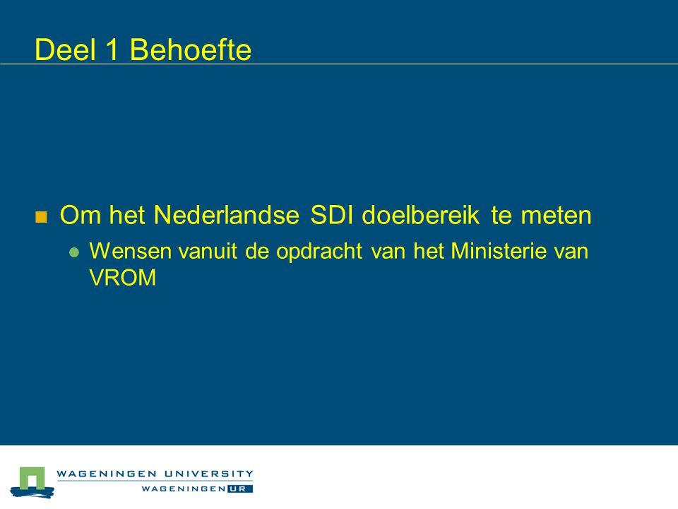 Deel 1 Behoefte Om het Nederlandse SDI doelbereik te meten Wensen vanuit de opdracht van het Ministerie van VROM