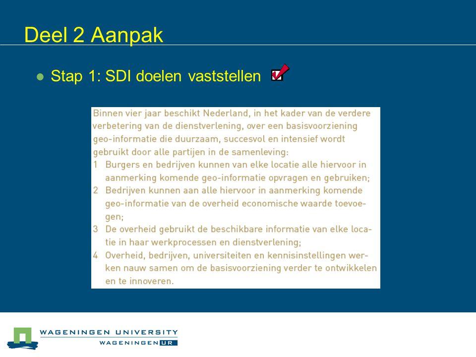 Deel 2 Aanpak Stap 1: SDI doelen vaststellen