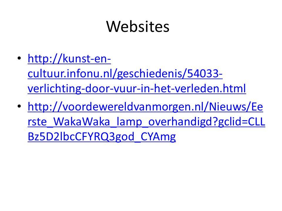 Websites http://kunst-en- cultuur.infonu.nl/geschiedenis/54033- verlichting-door-vuur-in-het-verleden.html http://kunst-en- cultuur.infonu.nl/geschied