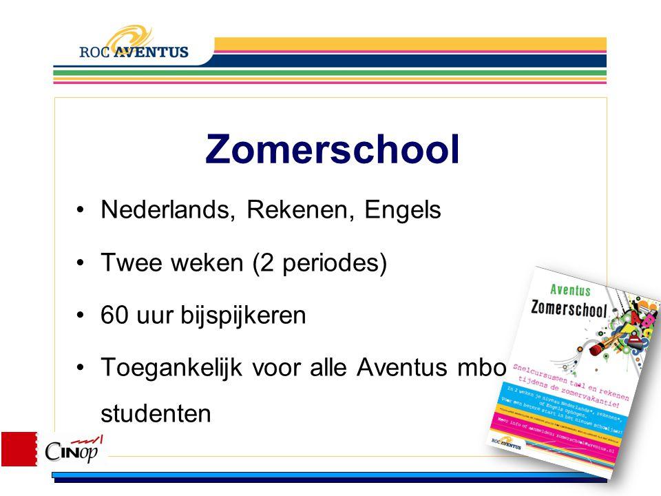 Zomerschool Nederlands, Rekenen, Engels Twee weken (2 periodes) 60 uur bijspijkeren Toegankelijk voor alle Aventus mbo studenten
