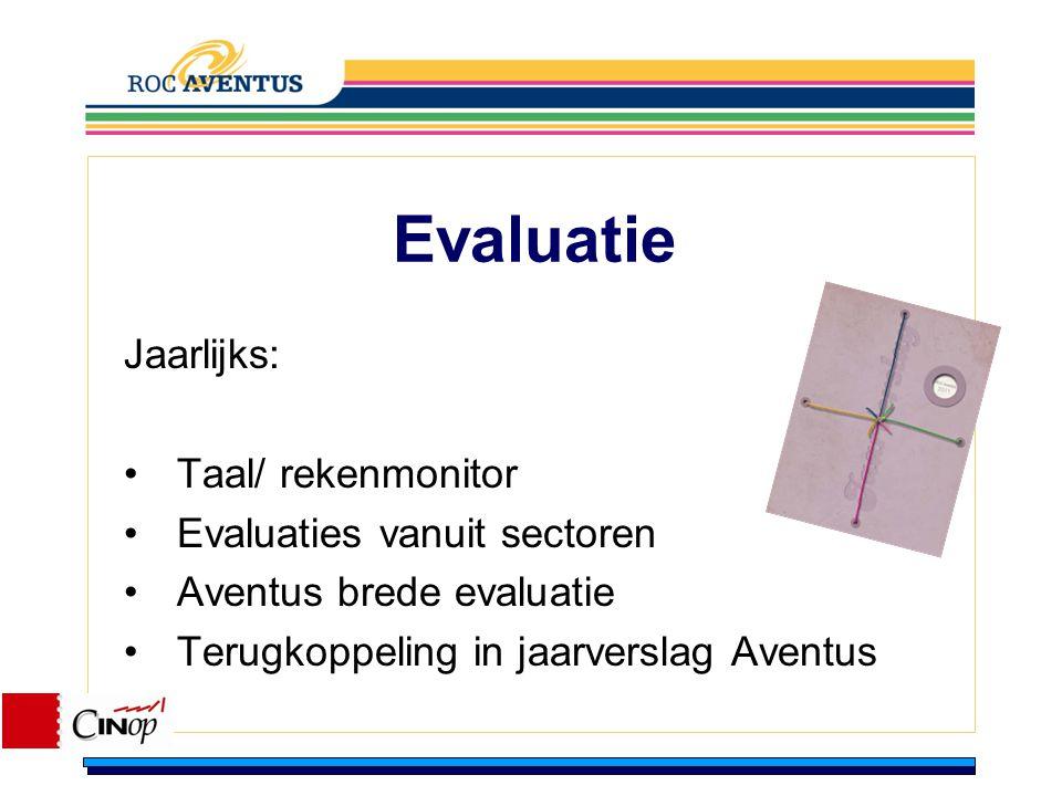 Evaluatie Jaarlijks: Taal/ rekenmonitor Evaluaties vanuit sectoren Aventus brede evaluatie Terugkoppeling in jaarverslag Aventus