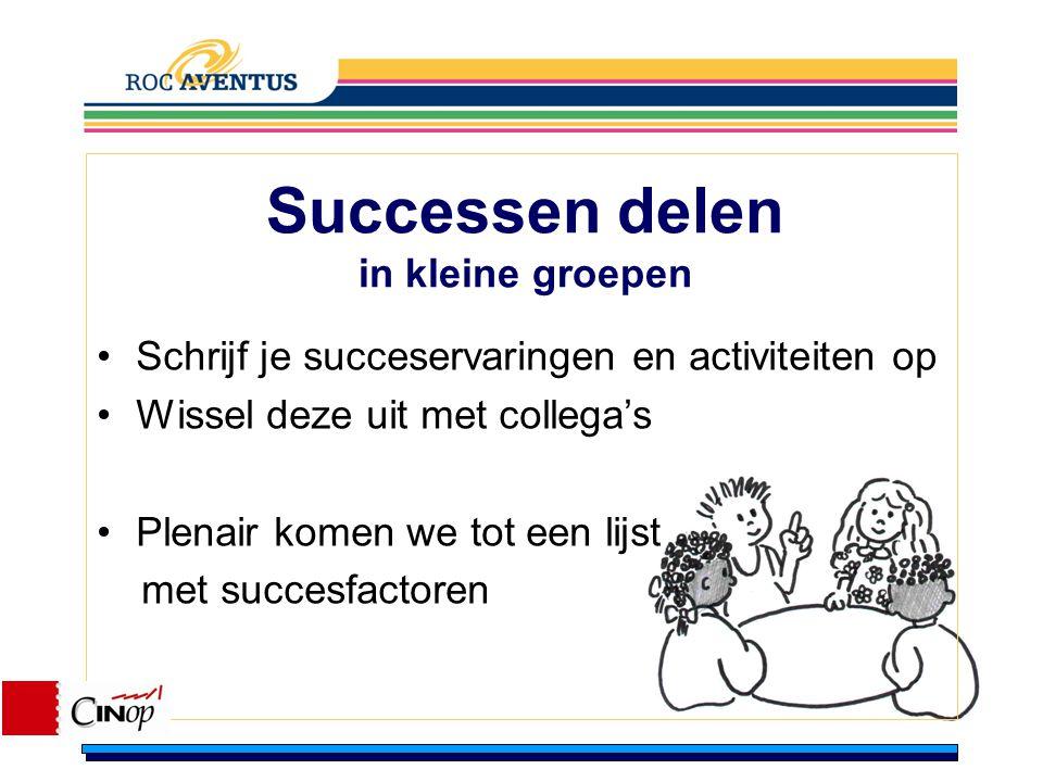 Successen delen in kleine groepen Schrijf je succeservaringen en activiteiten op Wissel deze uit met collega's Plenair komen we tot een lijst met succ