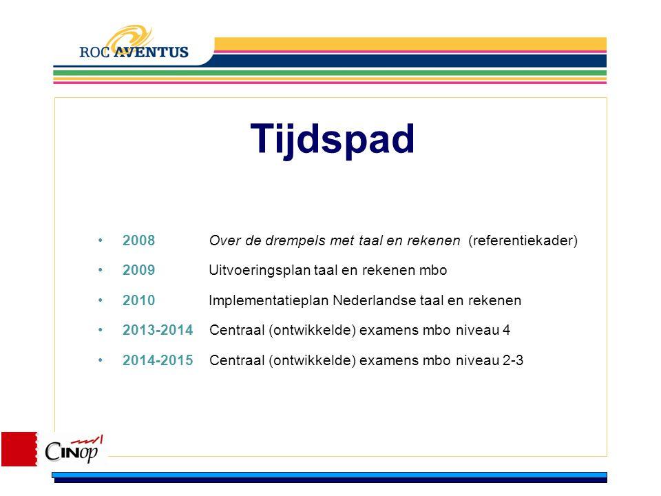 Tijdspad 2008 Over de drempels met taal en rekenen (referentiekader) 2009 Uitvoeringsplan taal en rekenen mbo 2010 Implementatieplan Nederlandse taal