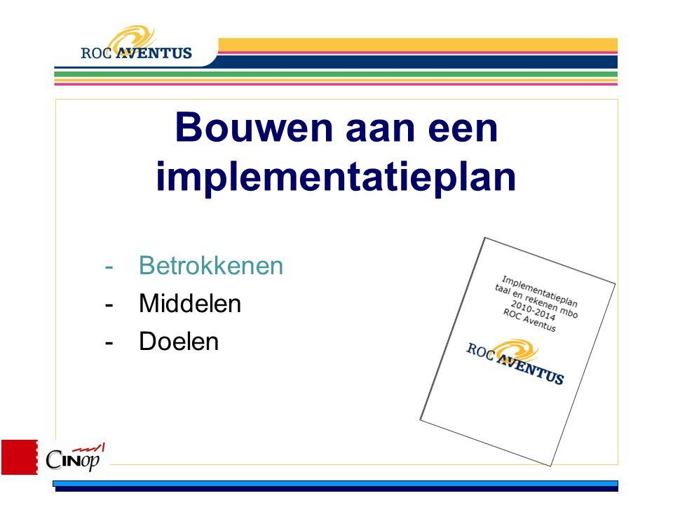 Bouwen aan een implementatieplan -Betrokkenen -Middelen -Doelen