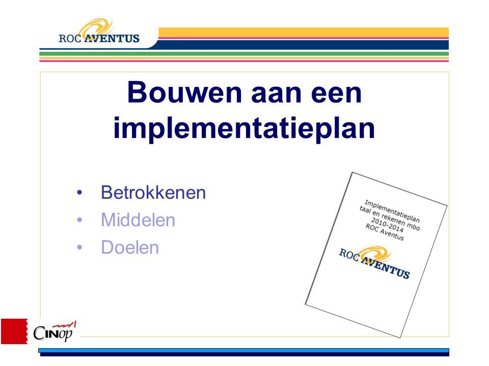Bouwen aan een implementatieplan Betrokkenen Middelen Doelen