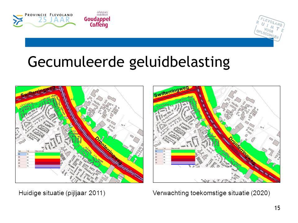 15 Gecumuleerde geluidbelasting Swifterringweg Dronterringweg Swifterringweg Dronterringweg Huidige situatie (pijljaar 2011) Verwachting toekomstige situatie (2020)
