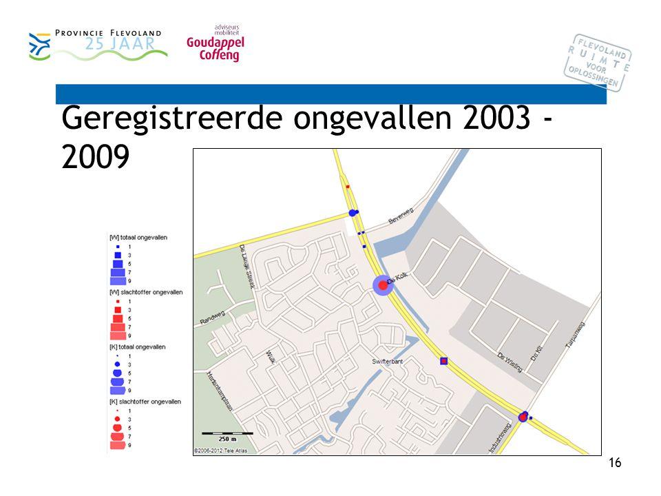 16 Geregistreerde ongevallen 2003 - 2009