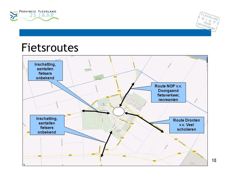 18 Fietsroutes Route Dronten v.v. Veel scholieren Route NOP v.v.