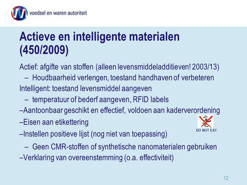12 Actieve en intelligente materialen (450/2009) Actief: afgifte van stoffen (alleen levensmiddeladditieven.