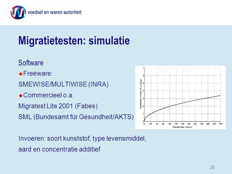 29 Migratietesten: simulatie Software u Freeware: SMEWISE/MULTIWISE (INRA) u Commercieel o.a.
