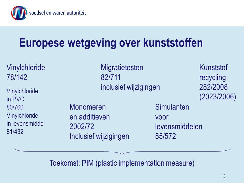 3 Monomeren en additieven 2002/72 Inclusief wijzigingen Vinylchloride 78/142 Simulanten voor levensmiddelen 85/572 Migratietesten 82/711 inclusief wijzigingen Europese wetgeving over kunststoffen Kunststof recycling 282/2008 (2023/2006) Vinylchloride in PVC 80/766 Vinylchloride in levensmiddel 81/432 Toekomst: PIM (plastic implementation measure)