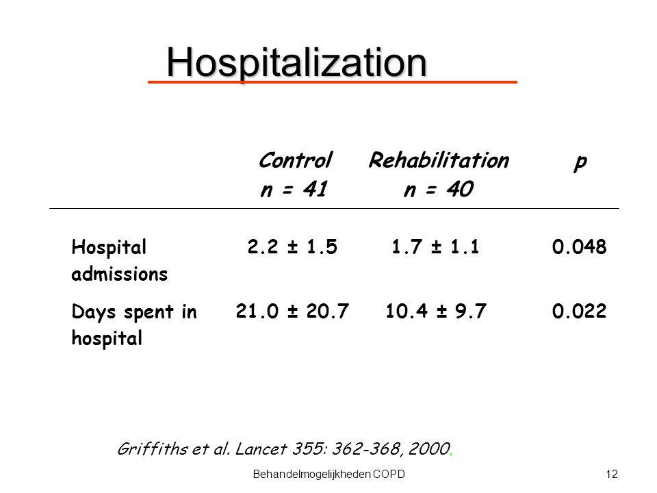 12Behandelmogelijkheden COPD Griffiths et al. Lancet 355: 362-368, 2000. Hospitalization Control n = 41 Rehabilitation n = 40 p Hospital admissions 2.
