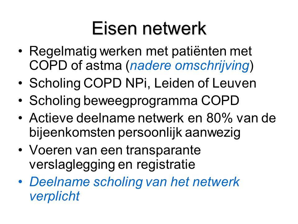 Eisen netwerk Regelmatig werken met patiënten met COPD of astma (nadere omschrijving) Scholing COPD NPi, Leiden of Leuven Scholing beweegprogramma COPD Actieve deelname netwerk en 80% van de bijeenkomsten persoonlijk aanwezig Voeren van een transparante verslaglegging en registratie Deelname scholing van het netwerk verplicht