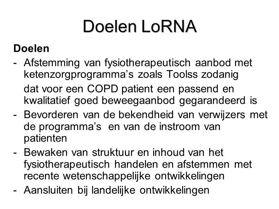 Doelen LoRNA Doelen -Afstemming van fysiotherapeutisch aanbod met ketenzorgprogramma's zoals Toolss zodanig dat voor een COPD patient een passend en k